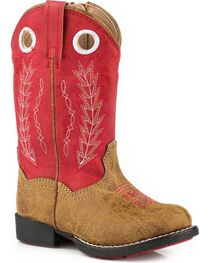 Roper Toddler Boys' Hole In The Wall Red Embroidered Cowboy Boots - Round Toe, , hi-res