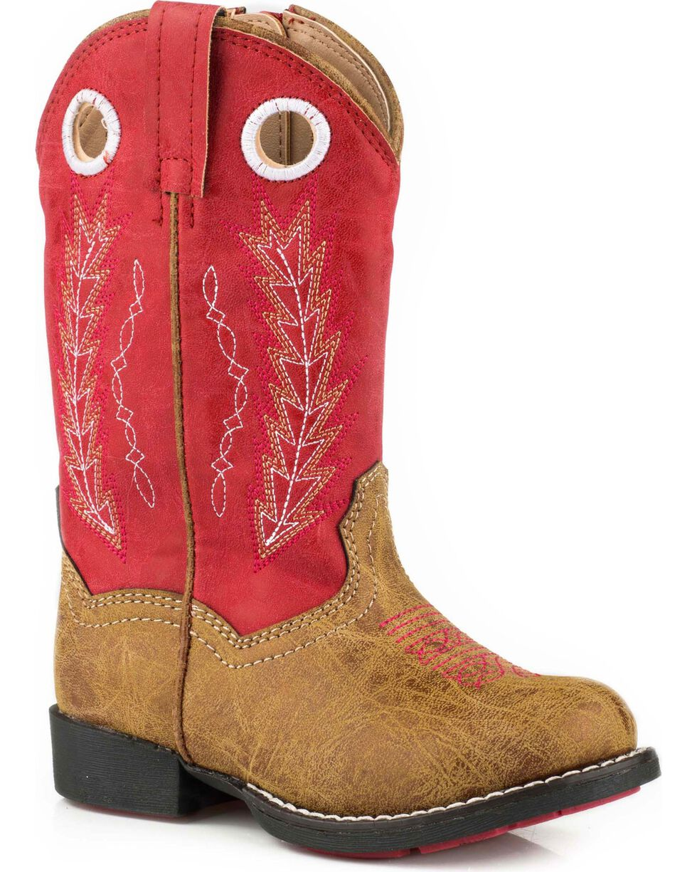 Roper Toddler Boys' Hole In The Wall Red Embroidered Cowboy Boots - Round Toe, Tan, hi-res