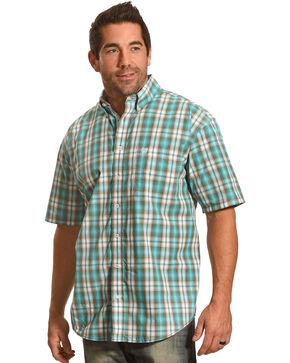 Panhandle Men's Evanston Ombre Plaid Short Sleeve Shirt, Blue, hi-res