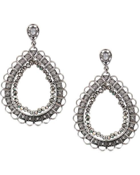 Shyanne® Women's Large Filigree Teardrop Earrings, Silver, hi-res