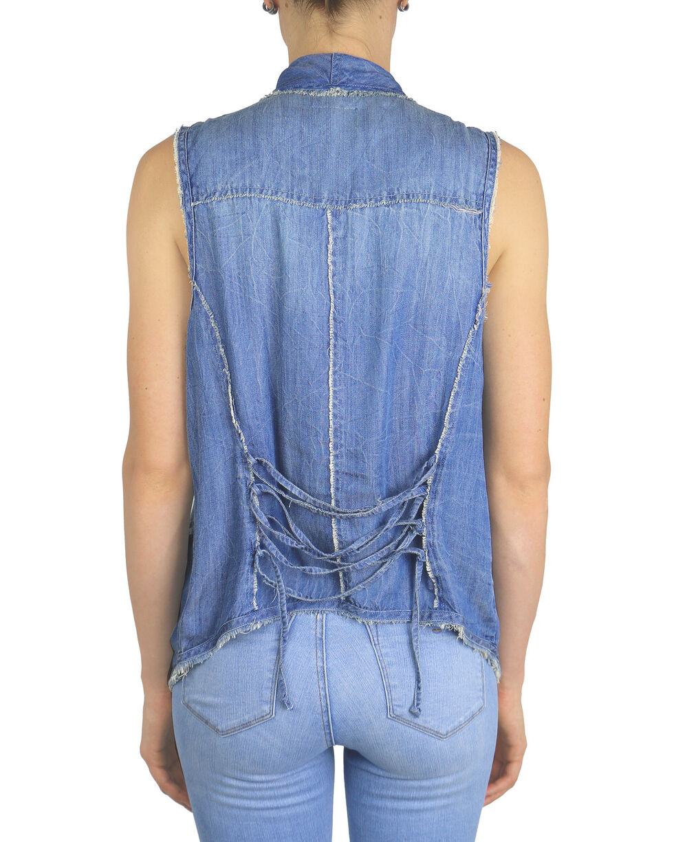 Tractr Blu Women's Indigo Waterfall Vest , Indigo, hi-res