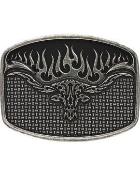 Montana Silversmiths Woven Longhorn Flame Belt Buckle, Antique Silver, hi-res