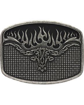 Montana Silversmiths Woven Longhorn Flame Belt Buckle, Antique Silver, hi-res