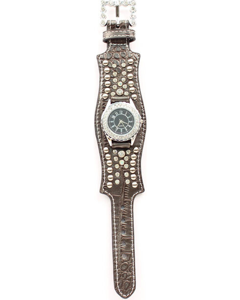 Scalloped Black Croc Print Crystal Watch, Black, hi-res