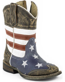 Roper Toddler Boys' American Flag Inside Zip Cowboy Boots - Square Toe, , hi-res