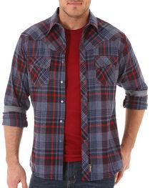 Wrangler Retro Men's Western Plaid Long Sleeve Shirt, Navy, hi-res