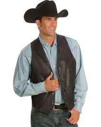 Scully Men's Whipstitch Leather Lapel Vest, , hi-res