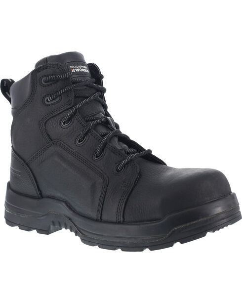 """Rockport Works Women's More Energy Waterproof 6"""" Lace-Up Work Boots - Composite Toe, Black, hi-res"""