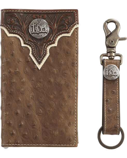 Cody James Men's Ostrich Print Wallet with Key Fob Gift Set, Brown, hi-res