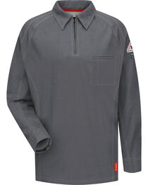 Bulwark Men's Grey iQ Series Flame Resistant Long Sleeve Polo, , hi-res
