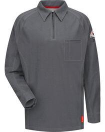 Bulwark Men's Grey iQ Series Flame Resistant Long Sleeve Polo - Big & Tall , , hi-res