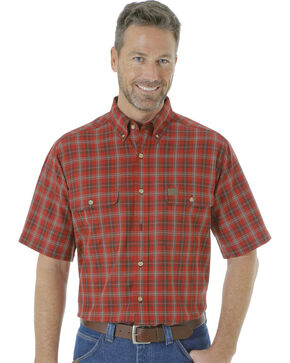 Wrangler Men's Riggs Workwear Foreman Plaid Work Shirt , Wine, hi-res