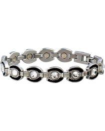Sabona Ladies' Crystal Horseshoe Link Magnetic Bracelet, , hi-res