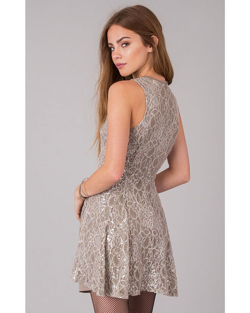 Others Follow Sequin Fit and Flare Cutout Dress, Taupe, hi-res