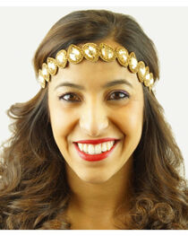 Pink Pewter Gold Hand Beaded Millie Stretch Headband, , hi-res