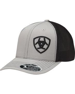 Ariat Men's Grey Contrasting Shield Baseball Cap , Grey, hi-res