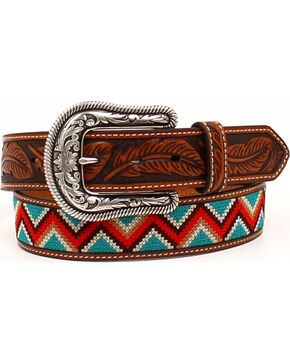 Ariat Women's Chevron Floral Tooled Western Belt, Tan, hi-res