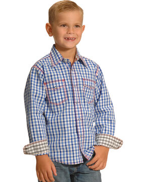 Wrangler 20X Boys' Blue and White Check Western Shirt, Blue, hi-res