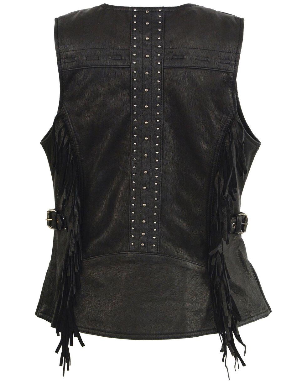 Milwaukee Leather Women's Fringe Snap Front Vest - 5X, Black, hi-res