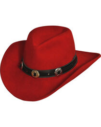 "Silverado Women's Crushable Red Wool 3 1/4"" Bendable Brim Hat, , hi-res"