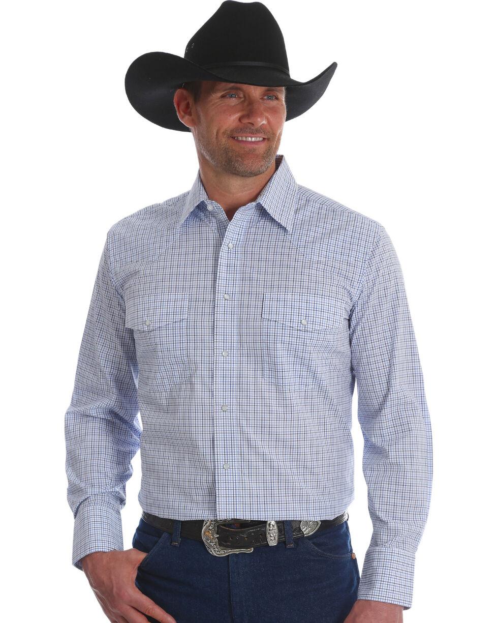 Wrangler Men's White/Blue Wrinkle Resist Long Sleeve Snap Shirt, White, hi-res