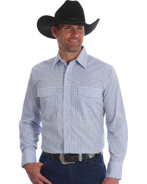 Wrangler Men's White/Blue Wrinkle Resist Long Sleeve Snap Shirt - Big & Tall, White, hi-res