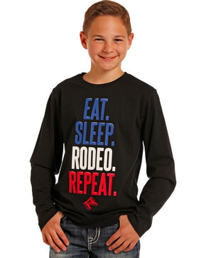 Rock & Roll Cowboy Black East Sleep Rodeo Repeat Tee , Black, hi-res
