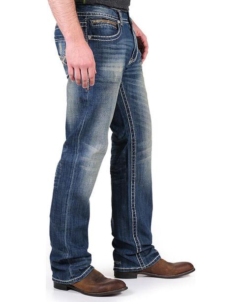 Realtree Men's Distressed Boot Cut Jeans, Blue, hi-res