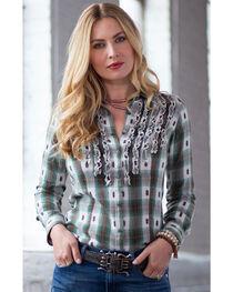 Ryan Michael Women's Ruffle Front Ombre Plaid Shirt, , hi-res