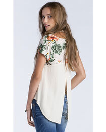 Miss Me Women's Taupe Tropical Printed Shoulder Short Sleeve Top, , hi-res