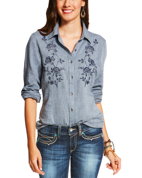 Ariat Women's Indigo Sierra Button-Down Shirt , Indigo, hi-res