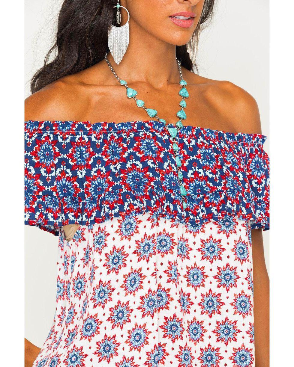 Eyeshadow Women's Off Shoulder Shirt, Red/white/blue, hi-res