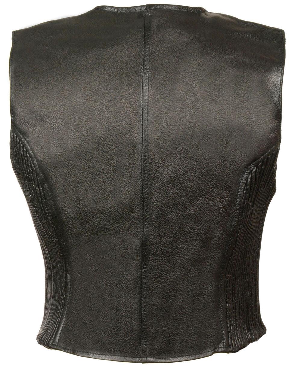 Milwaukee Leather Women's Zipper Front Side Stretch Vest - 5X, Black, hi-res