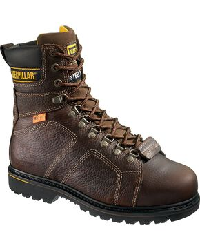 CAT Men's Silverton Guard Steel Toe Work Boots, Dark Brown, hi-res
