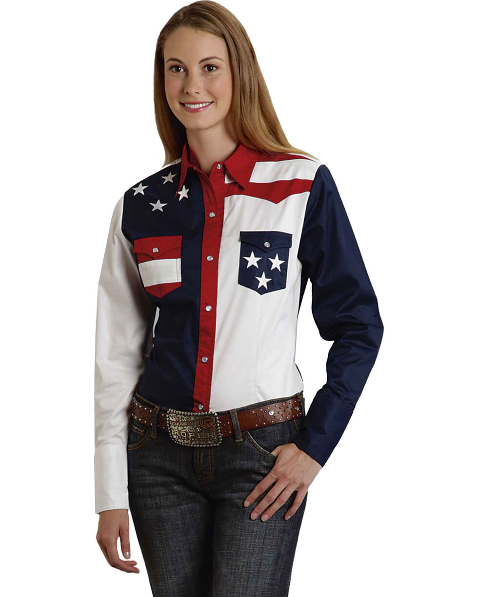 Roper Women's Stars & Stripes Colorblock Western Shirt, Patriotic, hi-res