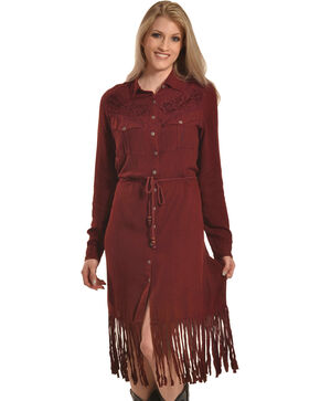 Nostalgia Women's Long Sleeve Fringe Hem Dress, Purple, hi-res