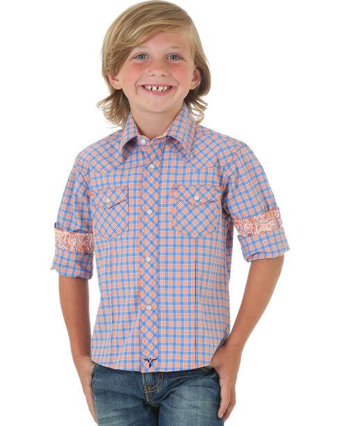 Wrangler 20X®  Boys' Orange Plaid Long Sleeve Competition Shirt , Orange, hi-res