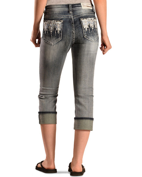 Grace in L.A. Women's Blue Crystal Capris, Denim, hi-res