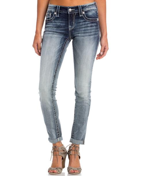 Miss Me Women's Indigo After Party Embellished Jeans - Skinny , Indigo, hi-res