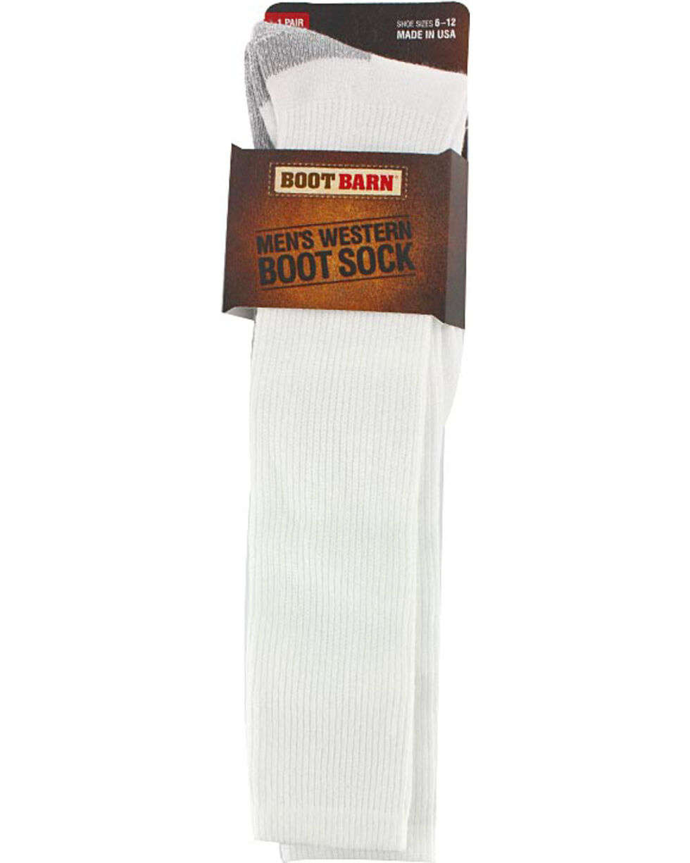 Boot Barn Men's White Western Boot Socks , White, hi-res