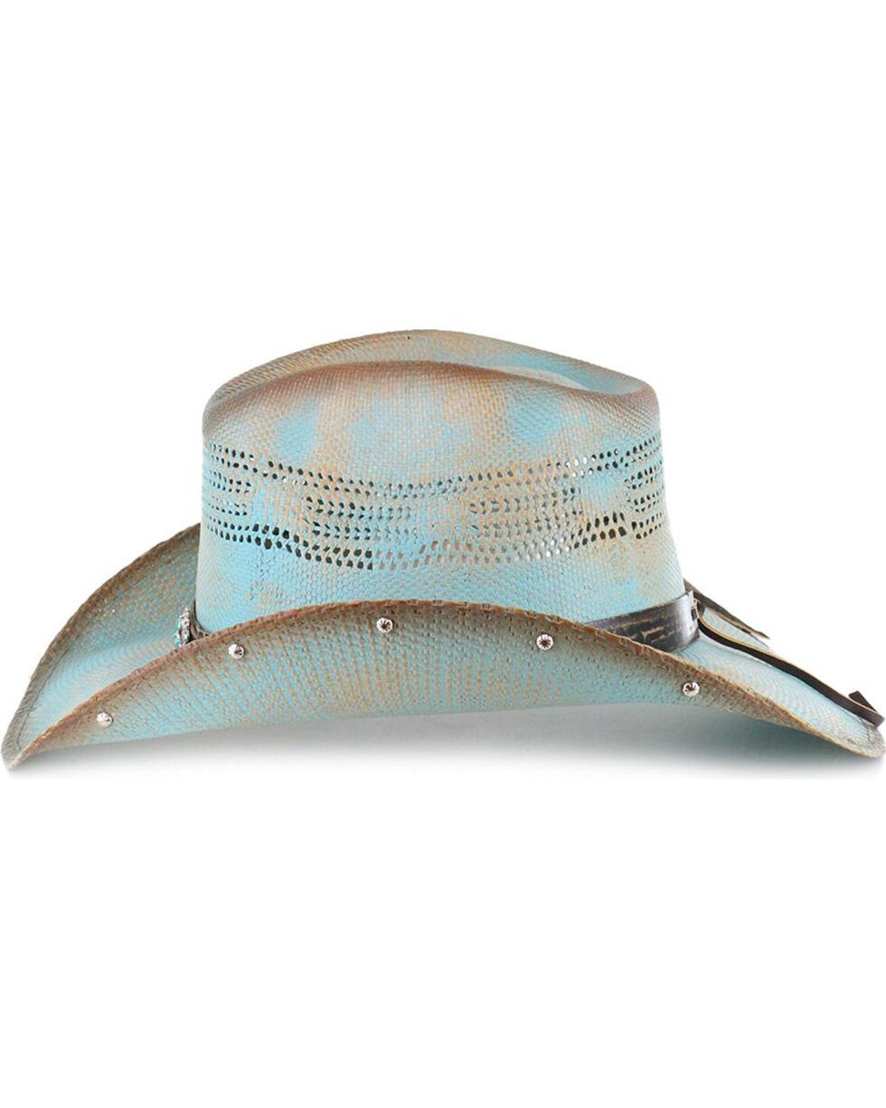 Bullhide Women's Sun West Concho Straw Hat, Blue, hi-res