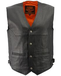 Milwaukee Leather Men's Black Deep Pocket Vest - Big 3X , , hi-res