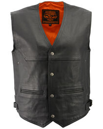Milwaukee Leather Men's Black Deep Pocket Vest - Big 4X , Black, hi-res