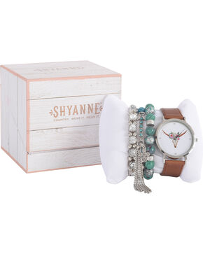 Shyanne Women's Longhorn Watch and Turquoise Bracelet Set, Brown, hi-res