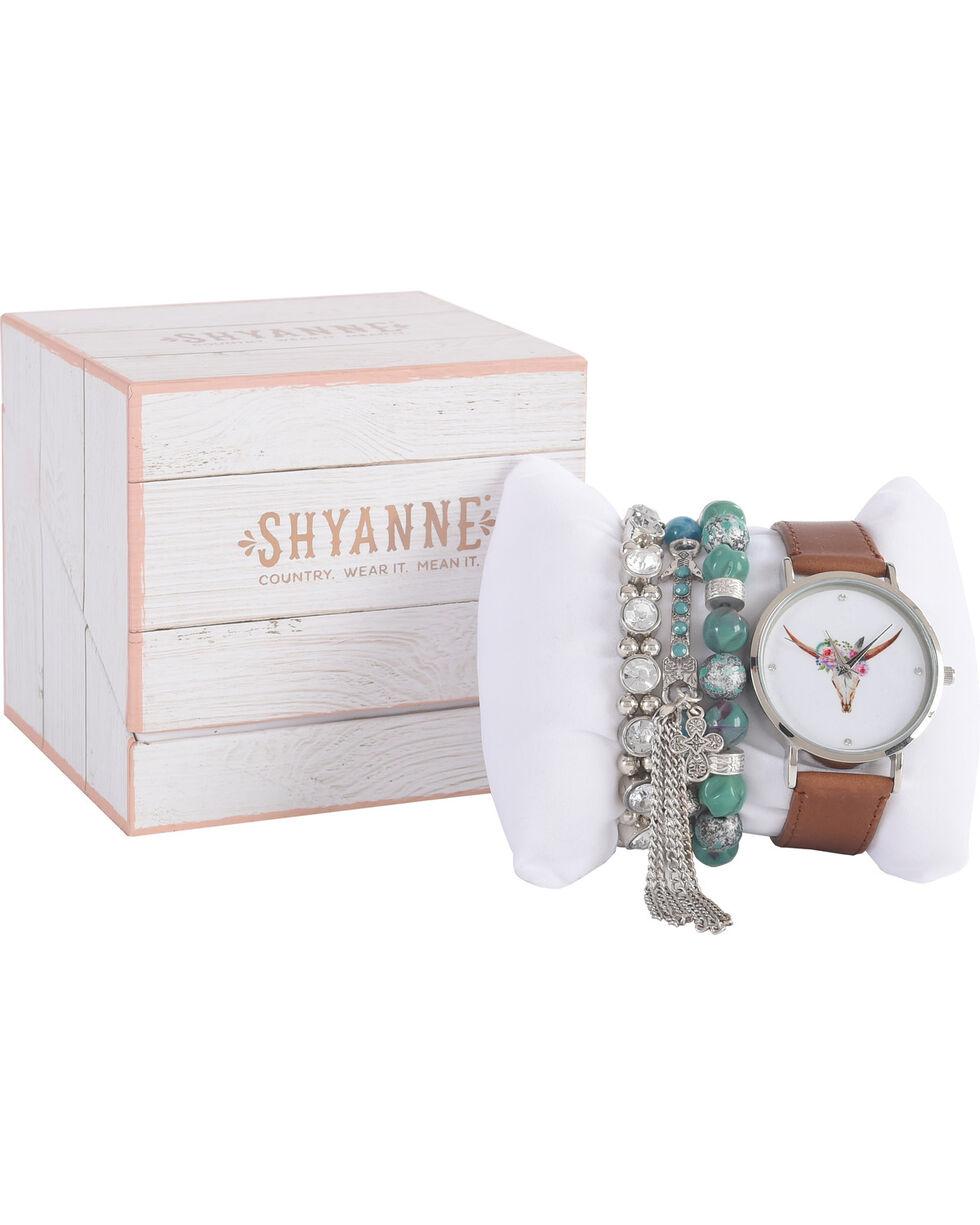 Shyanne Women's Longhorn Watch and Turquoise Bracelet Set, Brown, hi-res