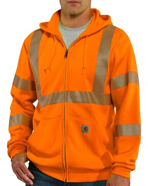 Carhartt Men's High Visibility Thermal Lined Class 3 Sweatshirt, Orange, hi-res