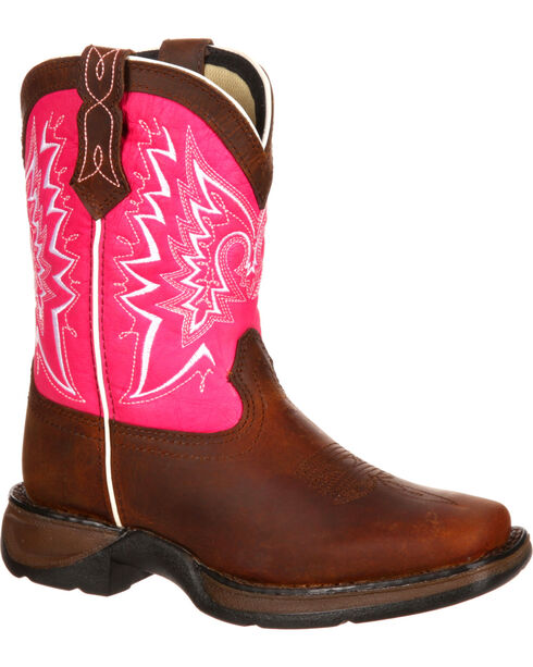 Durango Girls' Let Love Fly Western Boots, Brown, hi-res