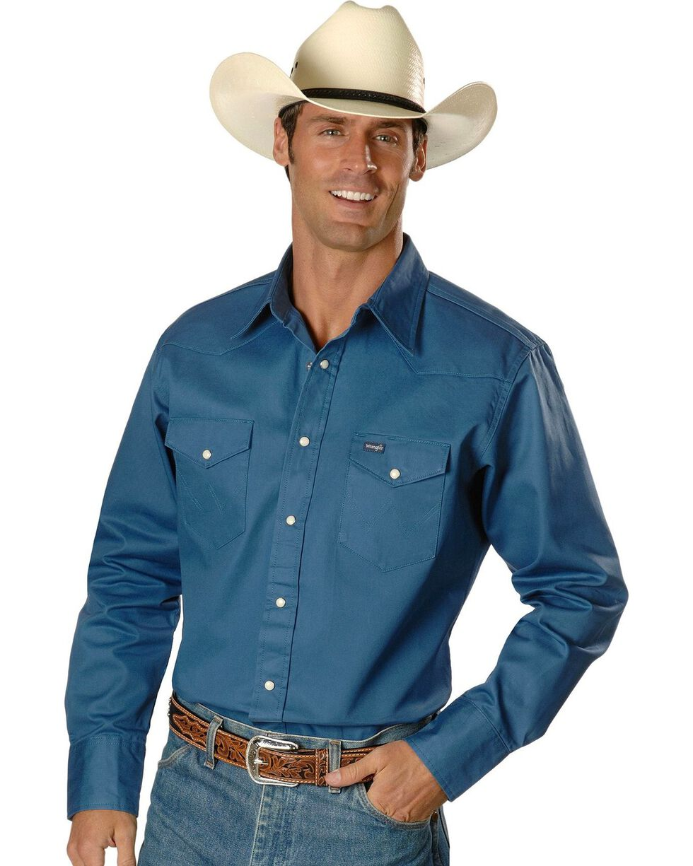 Wrangler Men's Cowboy Cut Firm Finish Long Sleeve Work Shirt, Teal, hi-res
