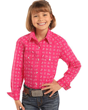 Panhandle Girls' Arrow Print Long Sleeve Western Snap Shirt, Pink, hi-res