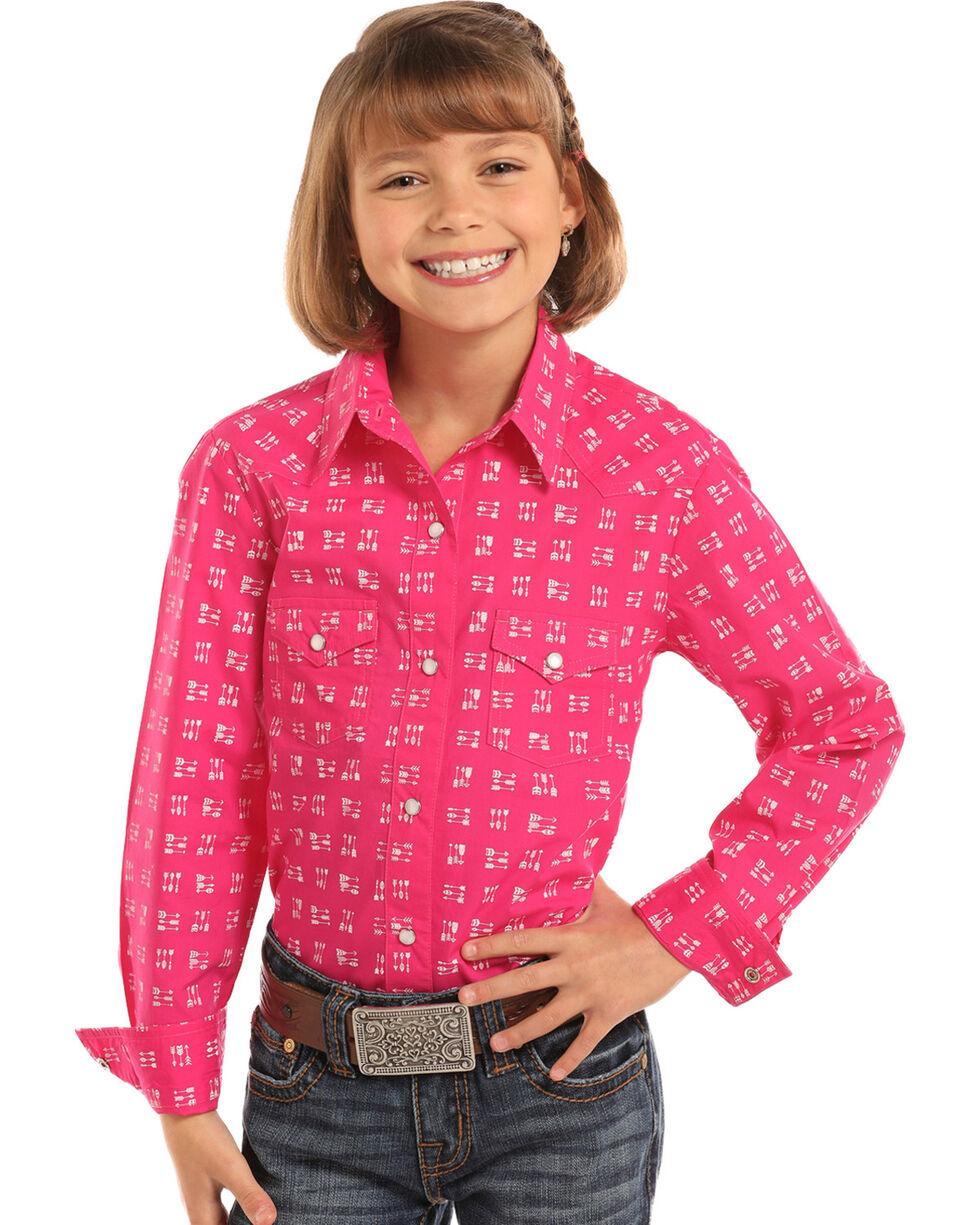 Panhandle Girls' Arrow Print Long Sleeve Western Snap Shirt, Pink, hi-res